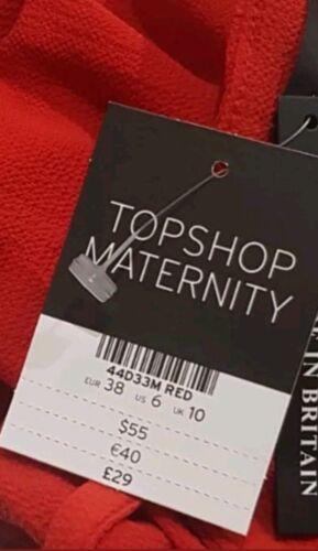 Ex Topshop Maternity Robe Gilet Sun Long Top Black Red Sz 8 10 12 14 16 Rrp £ 29