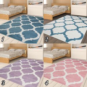 Kurzflor-Teppich-fuer-Kinder-Jugend-Designer-Teppich-Marokkanich-Pastell-NEUHEIT