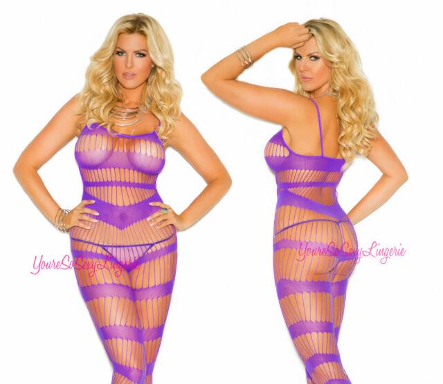 Plus Size STRAPY Bodystocking Purple Spaghetti Straps CROTCHLESS Spandex QUEEN