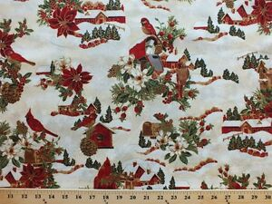 Christmas Birdhouses.Details About Christmas Birdhouses Holidays Snow Winter Wishes Cotton Fabric Print Bty D772 02