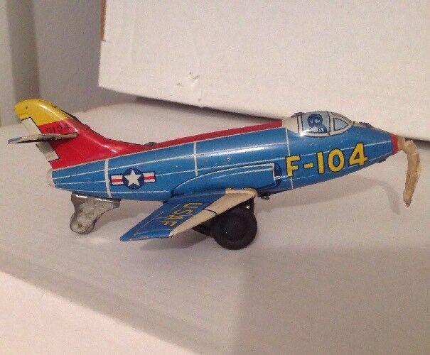 VINTAGE FRICTION TIN TOY LITHO JAPAN AIRPLANE F-104 USAF Haji 0104 TESTED works