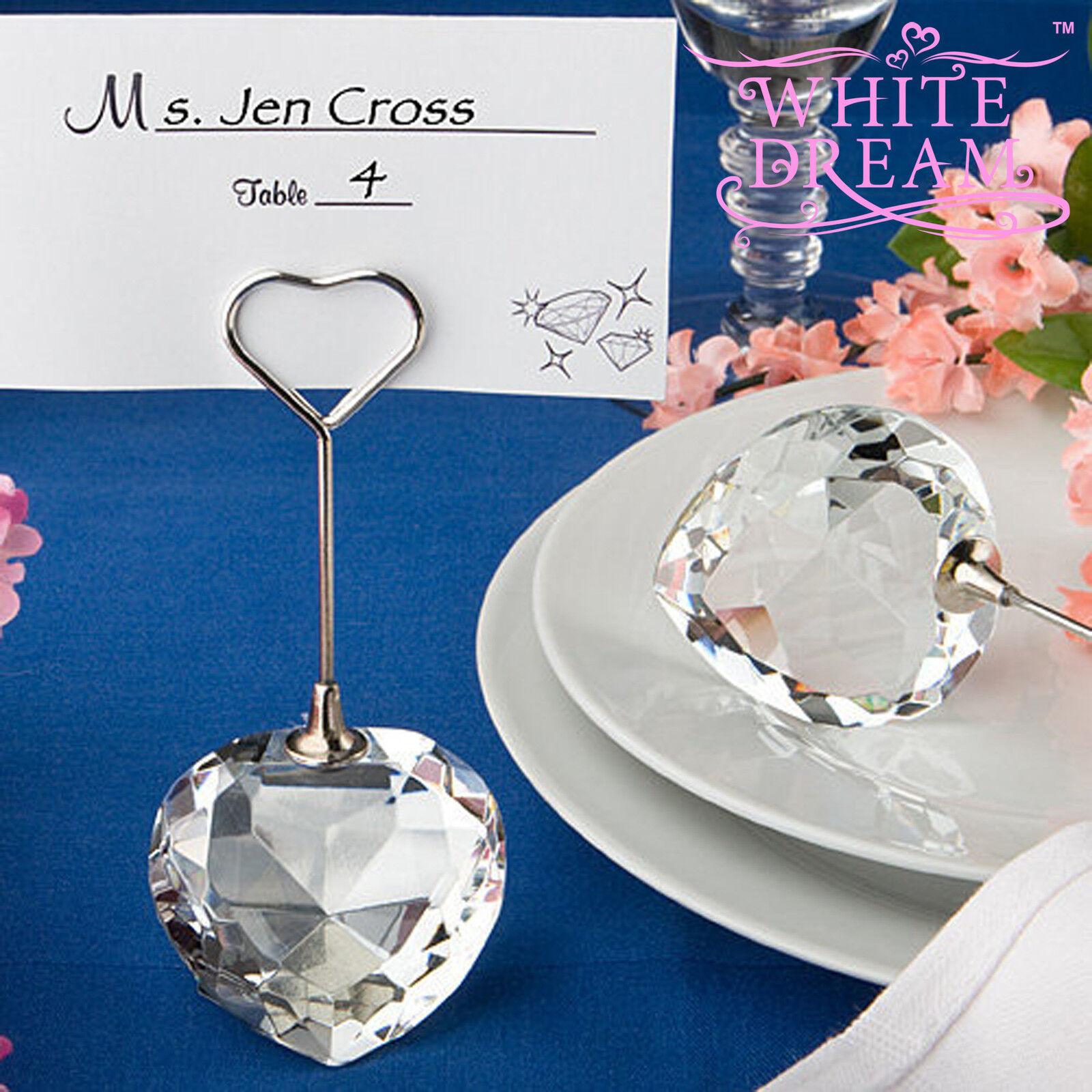 Crystal Heart Shape Place Card Holder - Wedding Favour   Table Decoration Choice