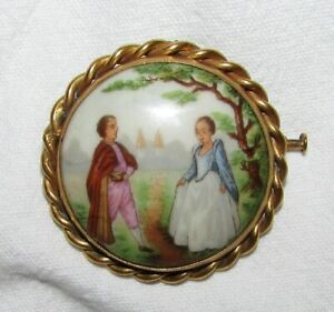 BROCHE-ANCIENNE-PORCELAINE-LIMOGES-plaque-or-french-brooch