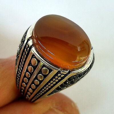 New Age, Turkish 925 S.Silver Yemeni aqeeq Men's Ring Sz 11 us #1479 fr resize