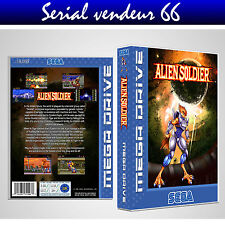 """BOX, CASE """"ALIEN SOLDIERS"""" . Megadrive. BOX + COVER PRINTED. NO GAME. ENGLISH."""