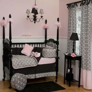 Image Is Loading Pink Black White Damask Baby Crib Bedding