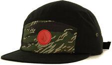 Volcom Killing It Camper 5 Panel Strapback Cap Hat-Black/Tiger Camo NEW