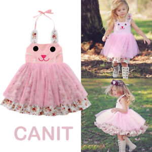 c01b11ff8e49d US Baby Girl Easter Bunny Dress Floral Party Outfit Princess Tulle ...