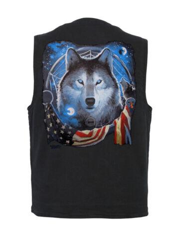 Mens Denim Vest Concealed Carry Pockets Patriotic Wolf Design