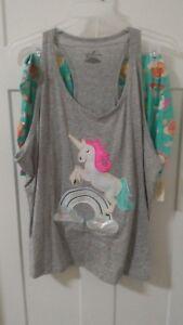 NEW-Women-039-s-Sleepwear-Pajamas-Size-2X-3X-Unicorn-Rainbow-SEAFOAM-GRAY-T17