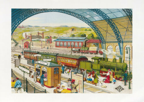 Bing Zug-Set Kartonbild Bahnhofhalle um 1910 GBN Gebr Kunstdruck Repro DIN A3