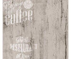 Dettagli su Carta da Parati per cucina | Caffè Legno Bianco su Grigio