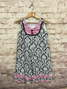 57970f2a84ff Lolly Wolly Doodle Romper Girls Size 6 Black White Pink Damask