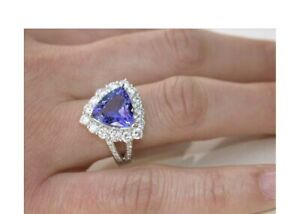 3Ct-Trillion-Cut-Tanzanite-Double-Halo-Engagement-Ring-14K-White-Gold-Finish