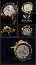 LUXUS CHRONOGRAPH -CAVADINI UHR TACHYMETER DREHBARE RING IP-GOLD PLATTIERT NEU