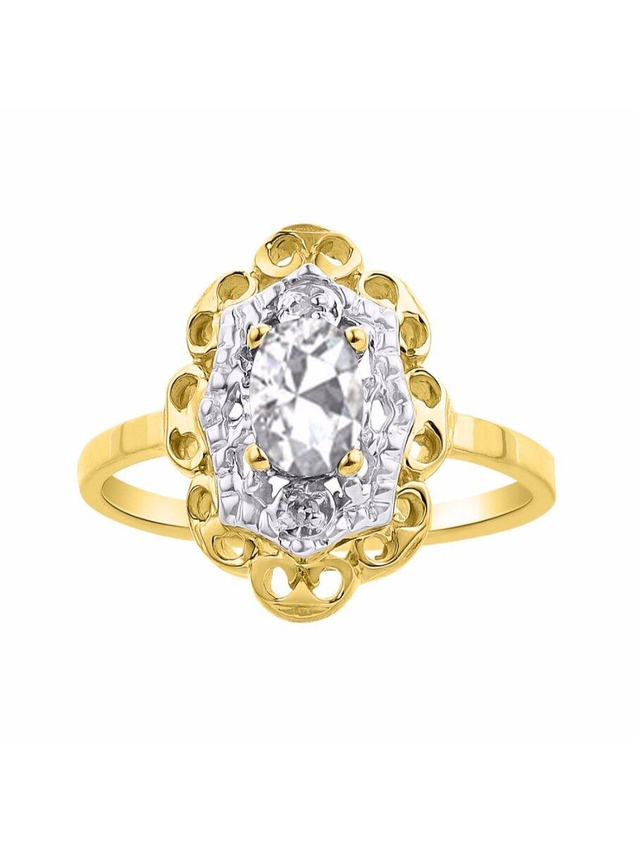 Diamond & White Topaz Ring Set In 14K Yellow gold Diamond Halo LR6429WTY-D