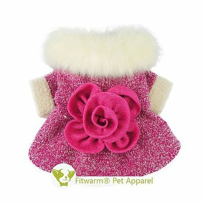 Fitwarm Warm Pink Princess Pet Clothes for Dog Coat Winter Dress Outfit XS to L