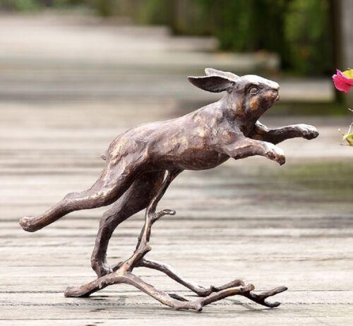 """Running Bunny Rabbit Garden Sculpture Metal Outdoor Statue Bronze Finish 15/""""W"""
