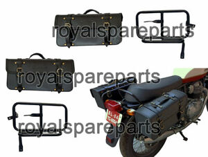 Royal Enfield Interceptor 650 Mounting Rails With Leather Pannier Bags Black