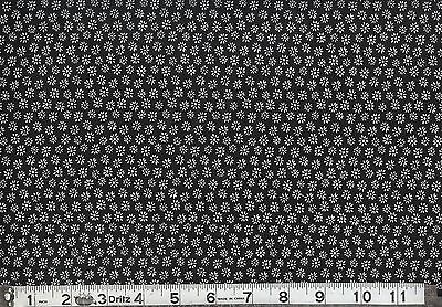 SMALL WHITE FLOWERS ON BLACK BACKGROUND 6 YARDS