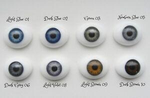 14mm Flat Back Oval Glass Eyes~Dark Grey~