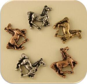 2 Hole Beads Horse Pony Canter/Trot~Eq<wbr/>uestrienne~Wes<wbr/>tern~Cowboy 3T Metal ~ QTY 5