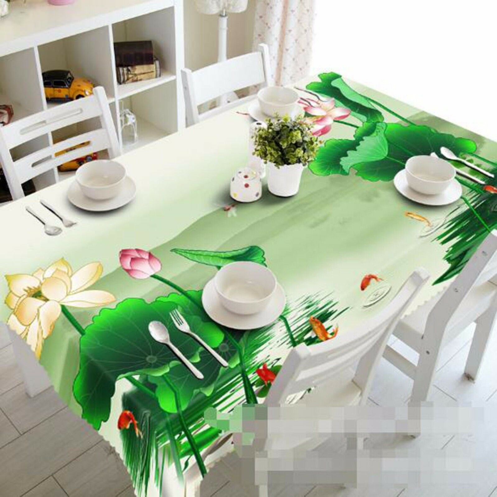 3D Lotus 406 Tablecloth Table Cover Cloth Birthday Party AJ WALLPAPER UK Lemon