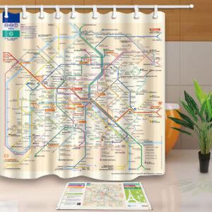 Image Is Loading Paris Metro Map Shower Curtain Bathroom Waterproof Fabric