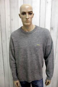 LACOSTE-Maglione-XL-Uomo-Taglia-6-Grigio-Lana-Casual-Pull-Pullover-Sweater