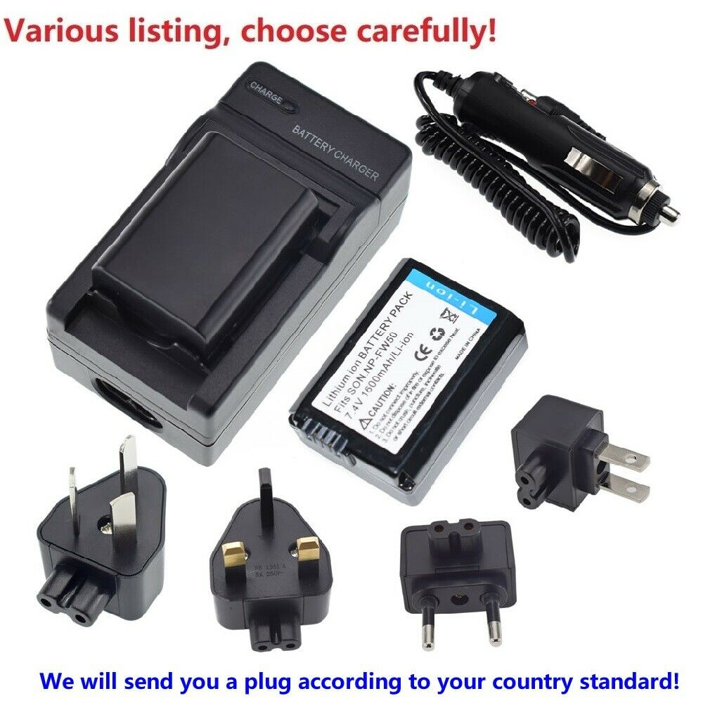 Battery or charger for Sony NP-FW50 Alpha a6000 a6300 a6400 a6500 a6100 a7 a7 II