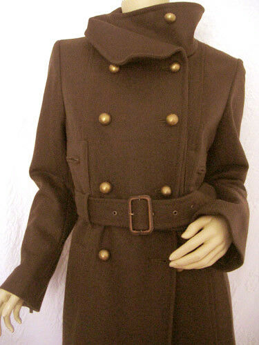 BCBG MAHOGANY  MRT80723  L- SLEEVE DOUBLE BREASTED WOOL LONG COAT NWT S