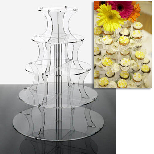 Cupcake Stand 5 Tier ROUND CLEAR Perspex Tower for Weddings and Party Displays
