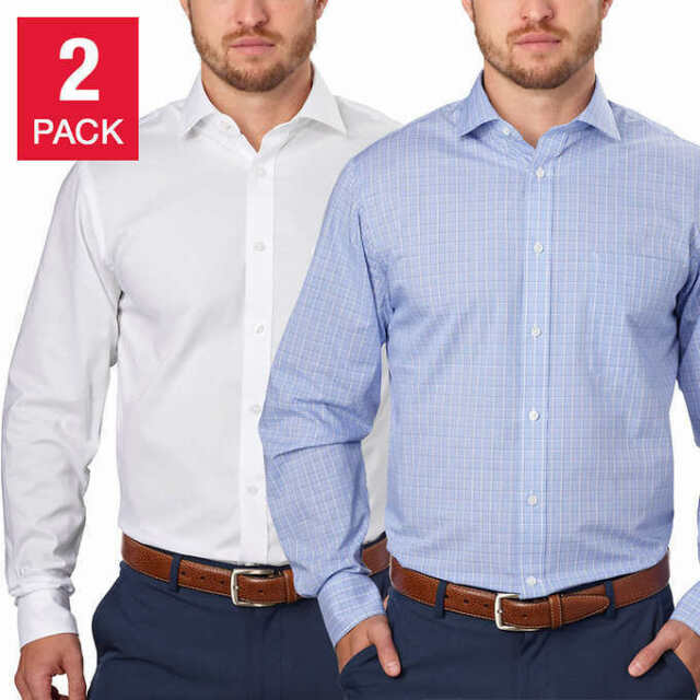 NWT Tommy Hilfiger Men's 2-Pack Dress Shirt White Blue Many Sizes