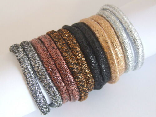 12 Assorted Colour Glitter Infused Pretty Fabric Hair Elastics Fashion Glitzy