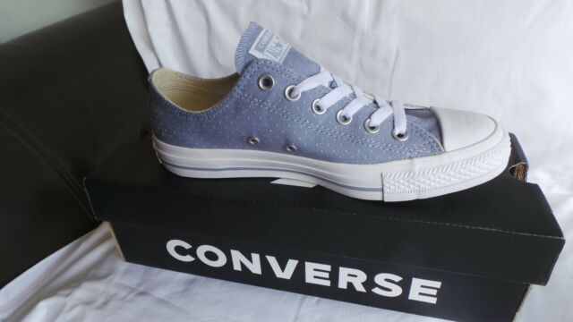 Blue Converse All Star Chambray Perforated Ox Trainers Size 8 EU 41.5