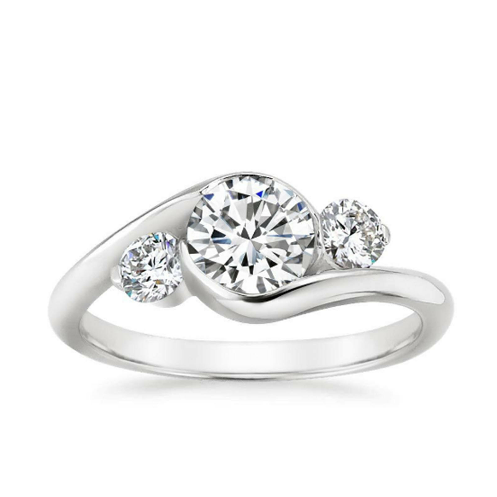 0.80 Ct Round Real Diamond Ring 14K White gold Engagement Ring Size 5 6 7 8 Sale