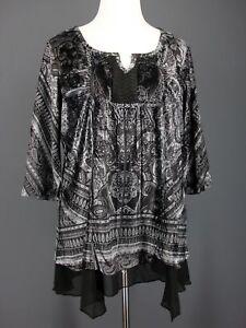 ONE-WORLD-Top-1X-Blue-Black-Velvet-Sublimation-High-Low-Layered-Sweatshirt-Knit