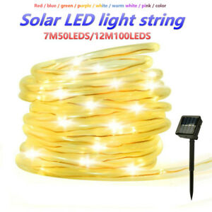 neuf 7 12m 50 100led solaire corde tube lumi re led tanches ext rieur garden ebay. Black Bedroom Furniture Sets. Home Design Ideas