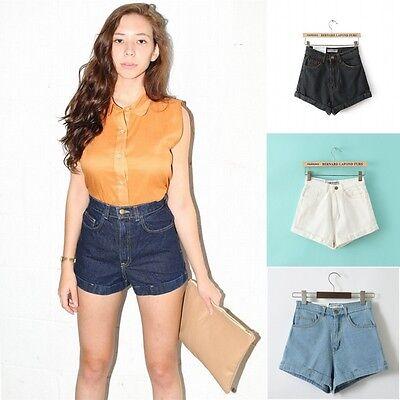 Vintage Retro Womens Denim High Waisted Shorts Jeans Hot pants American Apparel