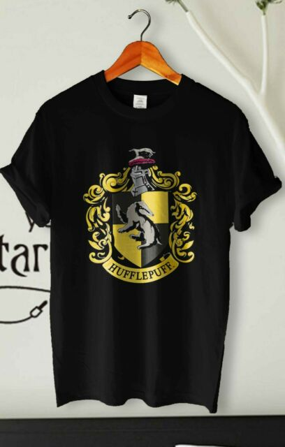 Harry Potter HUFFLEPUFF CREST Licensed Adult Heather T-Shirt All Sizes