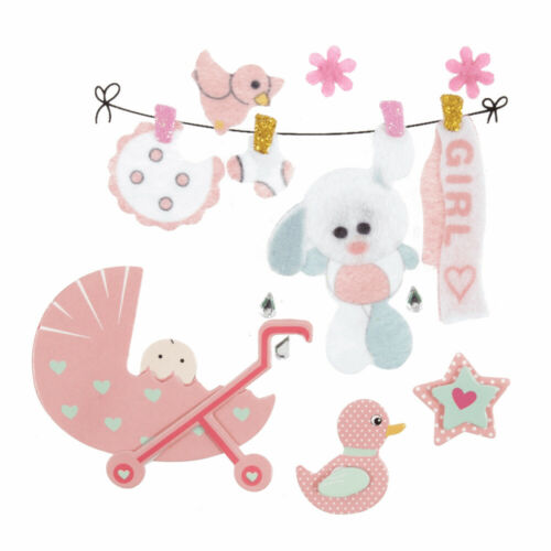 Pink Baby Girl Felt /& Card Papercraft Embellishments