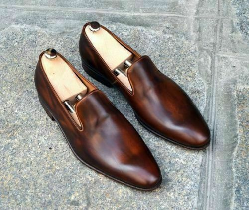 Handgemachte echte braune Leder Mokassins Loafers & Slip On Schuhe