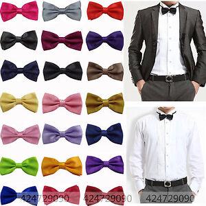 Men-039-s-Solid-Color-Classic-Bowtie-Pre-Tied-Wedding-Satin-Bow-Tie-Neckwear-YJB0001