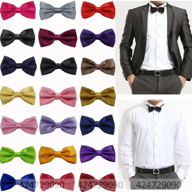 Men's Solid Color Classic Bowtie Pre Tied Wedding Satin Bow Tie Neckwear YJB0001