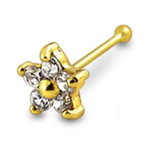 Jauge 22-6 mm 9K or jaune Jeweled Flower fin Ball Nose Stud vendu par pièce seulement