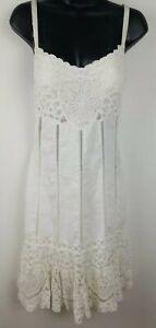 Sue-Wong-100-Linen-and-Lace-Crochet-Heart-Strap-Cream-Dress-size-2