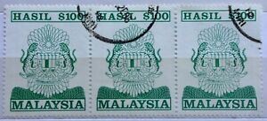 Malaysia Used Revenue Stamps - 3 pcs $100 Stamp (Old Design Big Size)