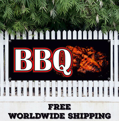 "72"" BAR-B-QUE BANNER SIGN barbque bbq smoker signs chicken ...   Bbq Chicken Sign"