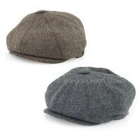 Wool Newsboy Flat Cap Mens Ladies Herringbone Bakerboy Gatsby G&H Country Hat