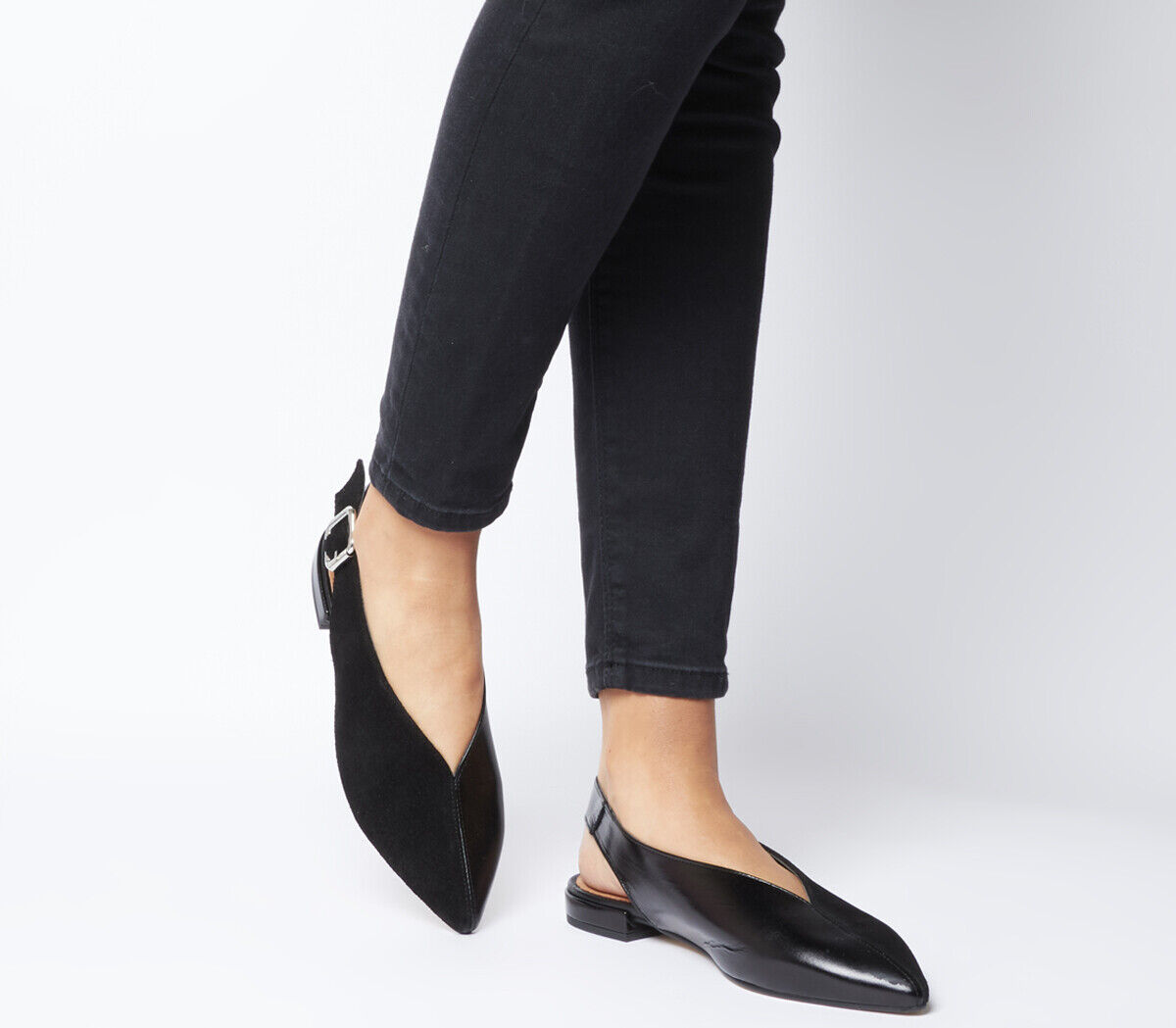 Donna Office Flow Split Slingback Point Flats nero Leather With Suede Flats